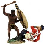 "WB20148 ""Overwhelmed"" Zulu Warrior Attacking British 24th Foot with Knobkerri Hand to Hand"